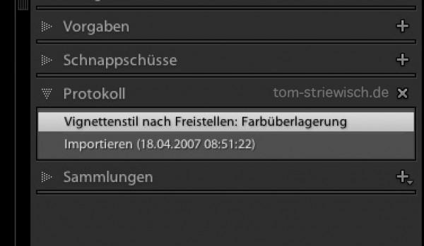 """Der Eintrag """"Vignettenstil nach Freistellen: Farbüberlagerung"""" wird von Lightroom 5 automatisch erzeugt."""