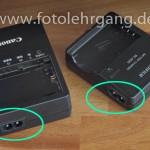 Typische Ladegeräte für Kameraakkus