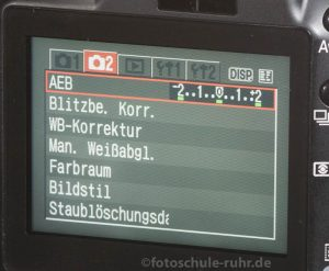 Display Belichtungsreihe (AEB)