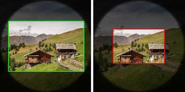 """Illustration zu """"Der kleinere Sensor erfasst aus dem großen Bildkreis nur einen Ausschnitt """""""