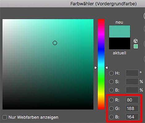 Darstellung des Farbwahldialogs von Photoshop
