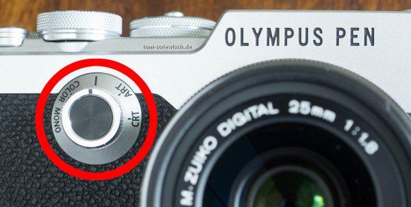 Illustration eines Details einer Olympus Pen F