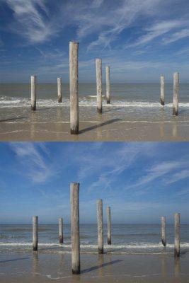 Illustration: zwei Bilder, die die unterschiedliche Auswirkung von Polfiltern je nach Drehung zeigen.