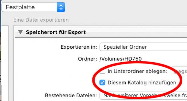 """Illustration zu """"Lightroom-Export Diesem Katalog hinzufügen"""""""