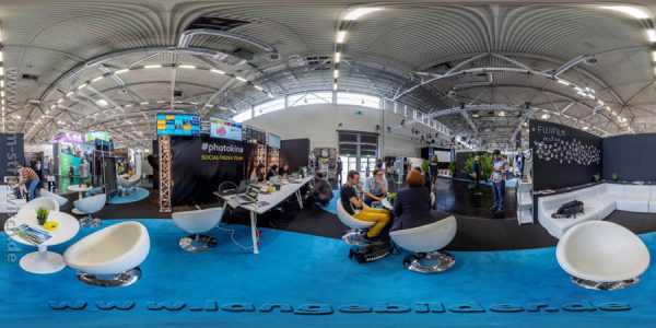 "Illustration zum KUgelpanorama ""Photokina 2014 Socialmedia Lounge"""
